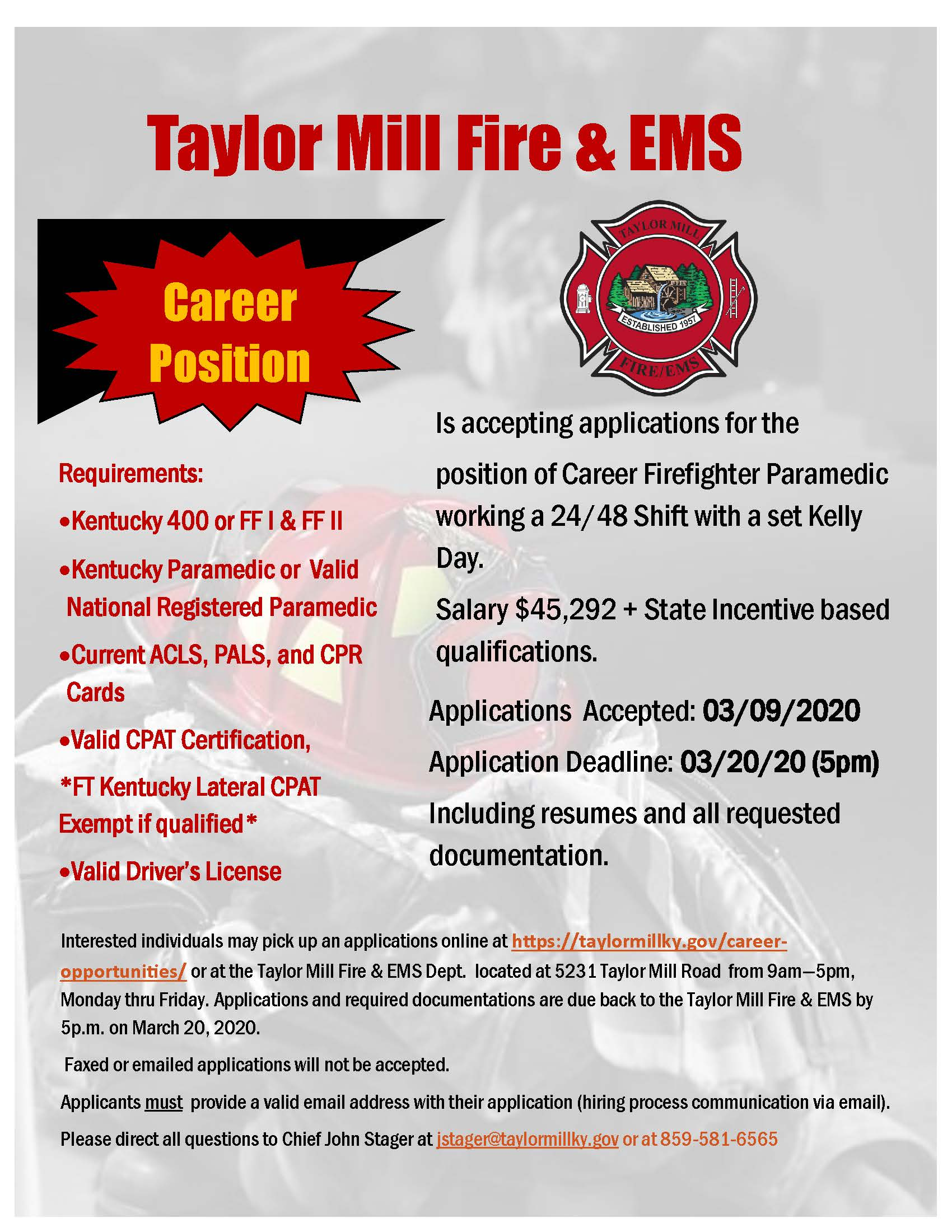 Taylor Mill Fire Department Hiring Full Time Firefighter/Paramedic
